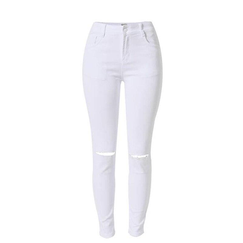 2016 mode blanc jeans femme taille haute d chir jeans pour les femmes denim jean pantalon trou. Black Bedroom Furniture Sets. Home Design Ideas