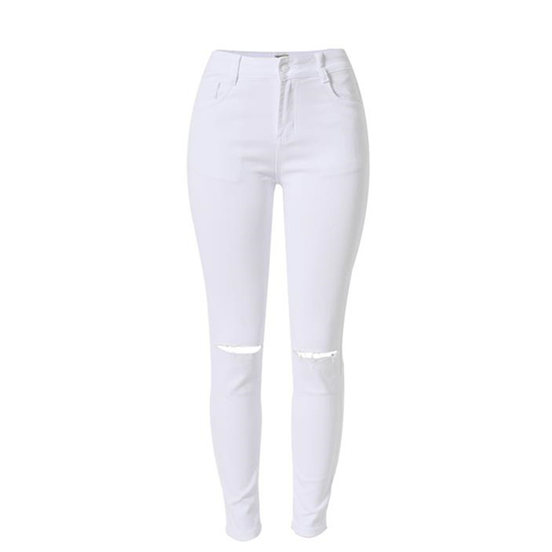 5d49ffe18a3 2016 moda blanco jeans Mujer alta cintura ripped jeans para las mujeres  Denim Jean pantalones vaqueros Mujer pantalon femme en Pantalones vaqueros  de La ...