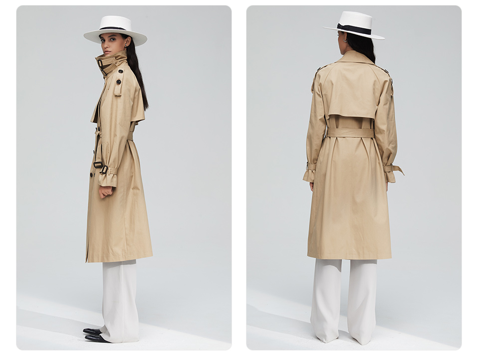 JAZZEVAR 19 New arrival autumn top trench coat women double breasted long outerwear for lady high quality overcoat women 9003 11