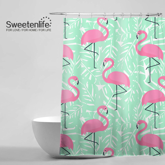 Online Shop Tropical Trendy Pattern Shower Curtain Pink Flamingos ...