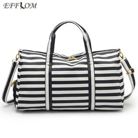 Fashion Carry On Luggage Travel Bags Women Large Capacity PVC Waterproof Duffel Bag Striped Weekend Holdall