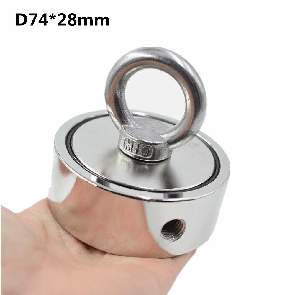 D75mm imán de neodimio súper poderoso agujero de doble cara salvar pesca imán 300 kg anillo Circular gancho permanente soporte de acero - 5