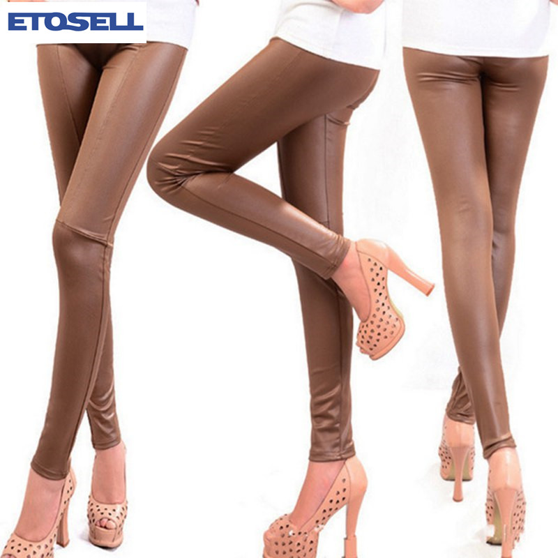 New Arrival Autumn Winter Korean Fashion Faux Leather Trousers Women New Sexy Skinny PU Leggings Pants Pantalon Femme