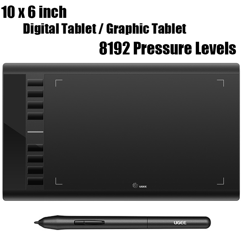 New UGEE Digital Graphics Tablet for Drawing M708 10x6 Inch Drawing Painting Pad 8192 Level Graphic Tablet with Battery-free Pen ugee ug 2150 p50s pen digital painting drawing tablet