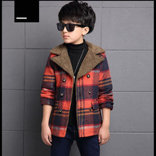 2016 New Plaid Winter Coat Boys Fashion Double Breasted Solid Grren Red Kids Wool Coats Jackets Boys Children Outerwear oc002