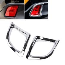 JEAZEA Car Accessories ABS Chrome Exterior Rear Fog Light Lamp Cover Trims Trim Sticker For Toyota Highlander 2015