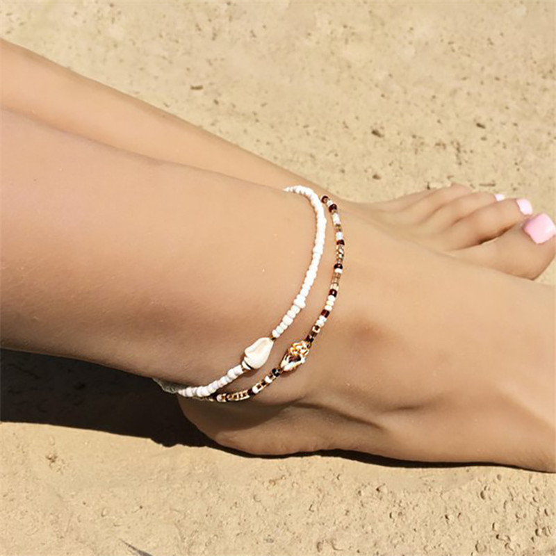 2020 New Hot Boho Style Anklets For Women Girl Trendy Natural Shell Beads Ankle Bracelet Women Summer Beach Jewelry Accessories