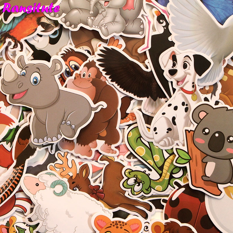 R193 48pcs/set Animal Home PVC Waterproof Fun Sticker Toy Luggage Sticker Motorcycle And Luggage Notebook Sticker