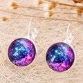 Estrela galáxia Universo Vidro Cabochão Brincos 2016 Nova Moda Jóias Brincos de Prata Do Parafuso Prisioneiro Para As Mulheres Presentes Criativos E86