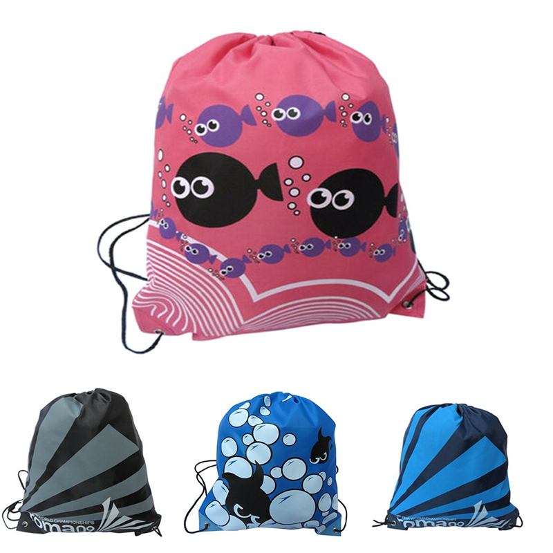 Waterproof Dustproof Gym Fish Printed Backpack Lightweight Portable Oxford Cloth Double Shoulder Strap Sport Bag