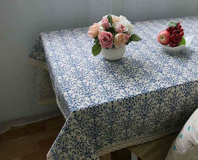 Retro Màu Xanh và Trắng Bảng Vải với Ren Cotton In Phong Cách Trung Quốc Hình Chữ Nhật Ăn Khăn Trải Bàn Bìa Trang Trí Nội Thất ZB-9