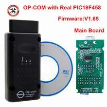 Herramienta de diagnóstico OP COM V1.65 con Chip PIC18F458, herramienta de diagnóstico de Bus Can OpCom para opel OBD2 OBDII, última versión, escáner