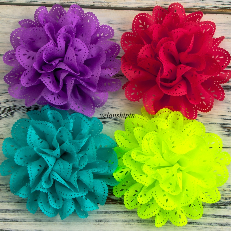 "10pcs/lot 4"" 15 Colors Chiffon Fabric Flowers Fluffy Eyelet Fabric Flowers For Headband Hair Accessories Hair Clip For Women DIY"