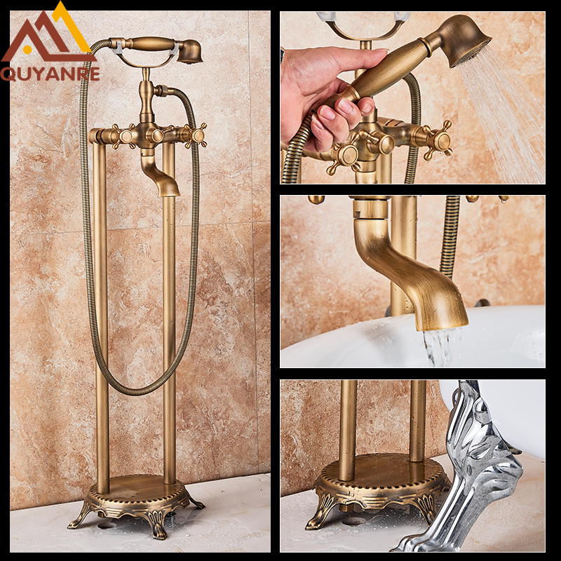 Quyanre Antique Brass Bathtub Shower Faucet Set Brass Handshower Dual Knobs Mixer Tap Swivel Mixer Floor