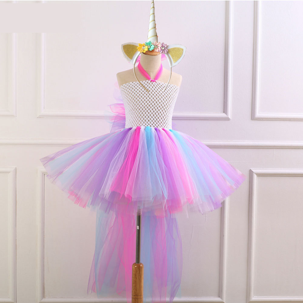 Children Girls Unicorn Tutu Dress Rainbow Princess Kids Birthday Party Dress Girls Christmas Halloween Pony Cosplay Costume 2-12