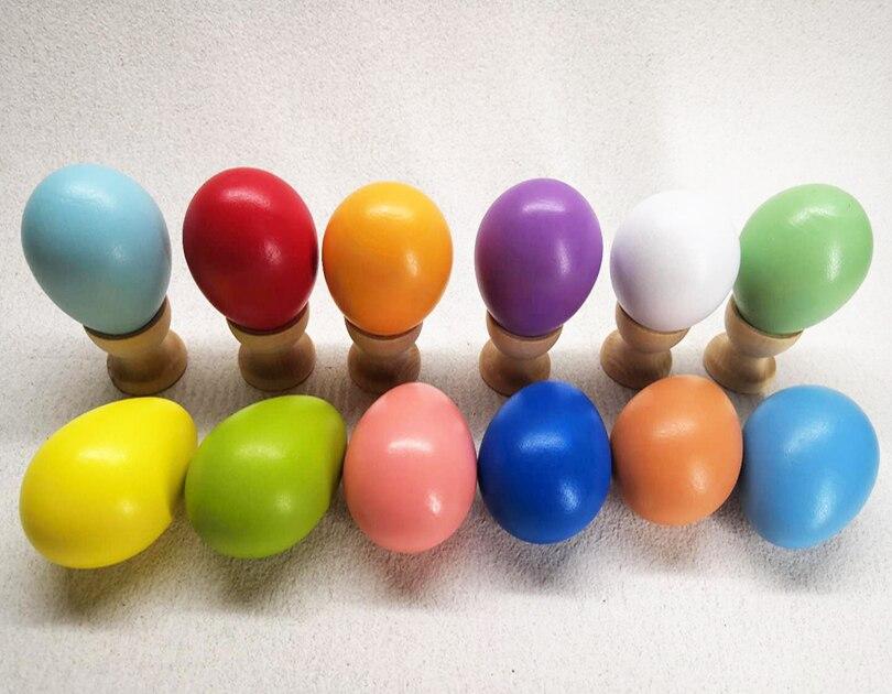 çocuk Gökkuşağı Ahşap Yumurta Boyama Diy Oyuncak Ahşap Paskalya