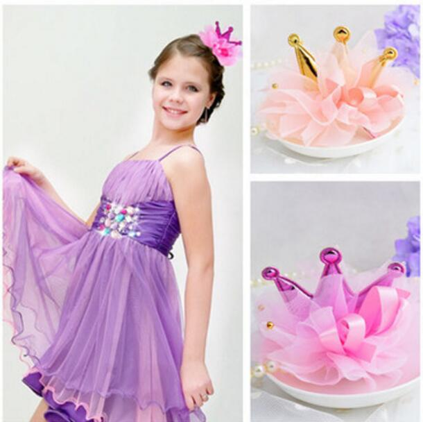 1piece Retail Kids Girl Styling Tools Crown Hair Clips Princess Hairpins Bow Headbands For Party accessories 1piece hair accessories for girl