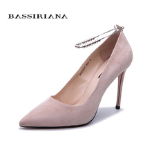 BASSIRIANA New 2019 fashion high quality genuine leather pumps shoes woman heels leathere black pink size 35-40