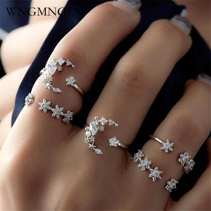 WNGMNGL 5 Pcs/Set 2018 New Fashion Charm Weave Crystal Rings For Women Silver Color Female Ring Party Jewelry Wholesale