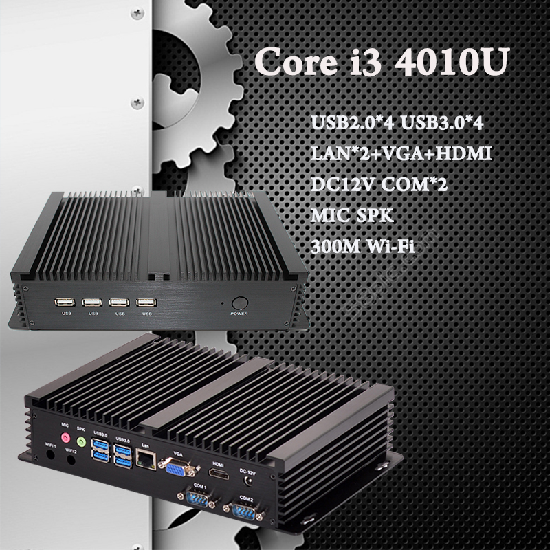 Core i5 4200U i3 4010U Industrial Computer 2 COM HDMI VGA Dual Display 300M Wifi 4K