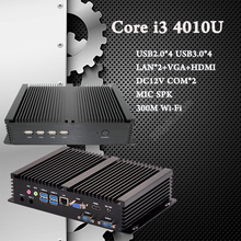 Core i5 4200U i3 4010U Промышленный Компьютер 2 COM HDMI VGA Двойной дисплей 300 М Wifi 4 К HD HTPC Бесплатная Доставка DHL Мини-Безвентиляторный ПК