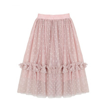 Baby Girl Kids Children Clothes Polka Dot Pink Tutu Ruffle Skirt Princess Birthday Party Skirts Cotton Lining Girls Pettiskirts