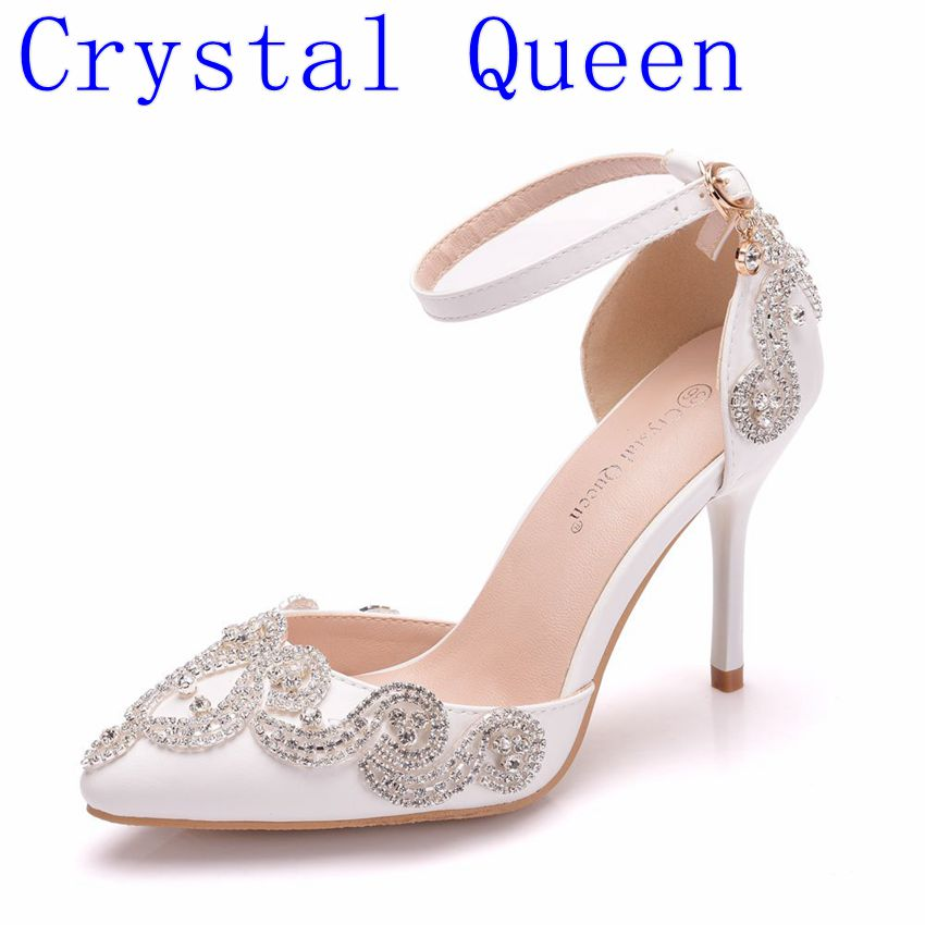 Crystal Queen Summer Crystal Bridal Shoes Ankle Strap Pointed Toe Luxury Princess Wedding Shoes Women Party Prom ShoesCrystal Queen Summer Crystal Bridal Shoes Ankle Strap Pointed Toe Luxury Princess Wedding Shoes Women Party Prom Shoes