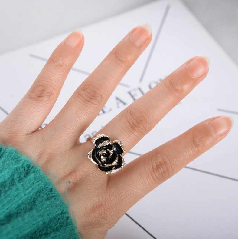 Hot Fashion Adjustable Rings Gold Color Wishful Flower Leaves and Branches Finger black Rings For Women Jewelry Wedding