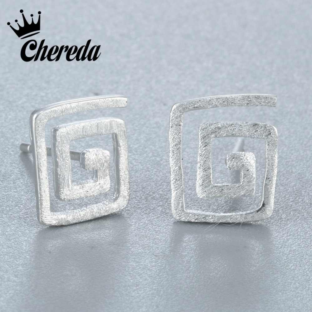 Chereda    Earrings Fingerprint Rotating Hollow  Fashion Maze Square Shape Young Girl Rock Accessories
