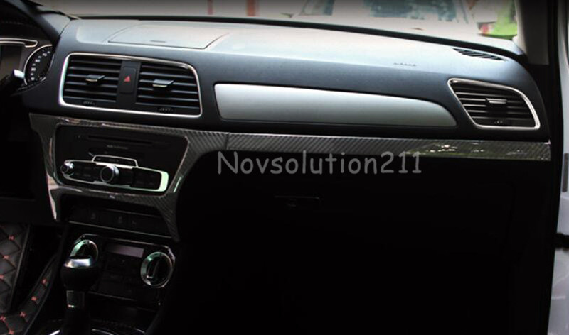 2012 -2015 Real Carbon Fiber Center Control Cover & Stripe Trims For Audi Q3 8U yandex w205 amg style carbon fiber rear spoiler for benz w205 c200 c250 c300 c350 4door 2015 2016 2017