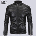 2017 Spring Soft Casual Man Motorcycle Leather Jacket Men Fashion Zipper Leather Bomber Jacket Men's Leather Jackets 5XL,UMA299