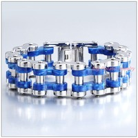 9*24mm 131g Huge Heavy Men's Motorcycle Bicycle Bike Chain Stainless Steel Bangle Bracelet Silver Blue Fashion Jewelry New