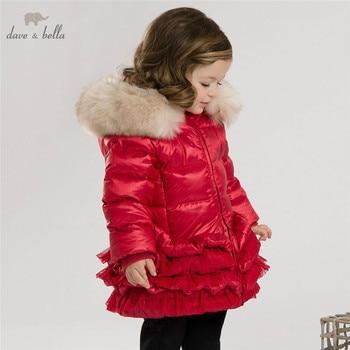 DB3390 דייב bella חורף תינוק מעיל תינוק למטה מרופד מעיל בנות לבן ברווז למטה נוצת מעיל בנות אדום ורוד מעיל מעיל