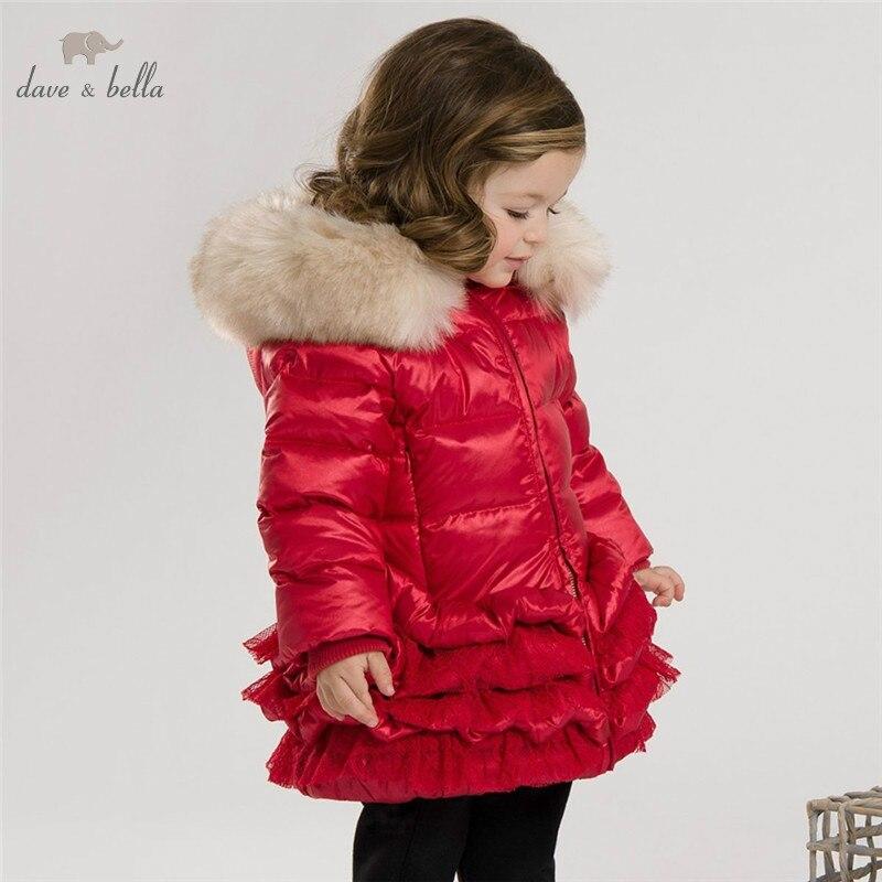 DB3390 Dave Bella зимние Детское пальто Детский пуховик Белые пальто на утином пуху с перьями Куртка для девочки красного и розового цвета