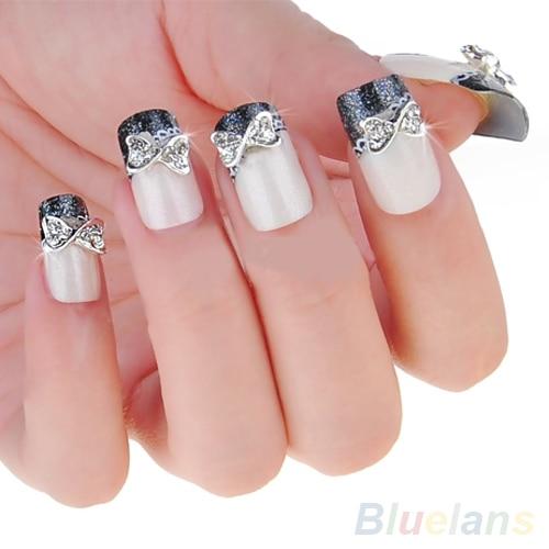 10x 3d Nail Art Zilver Legering Strikje Bowtie Rhinestones Glitters