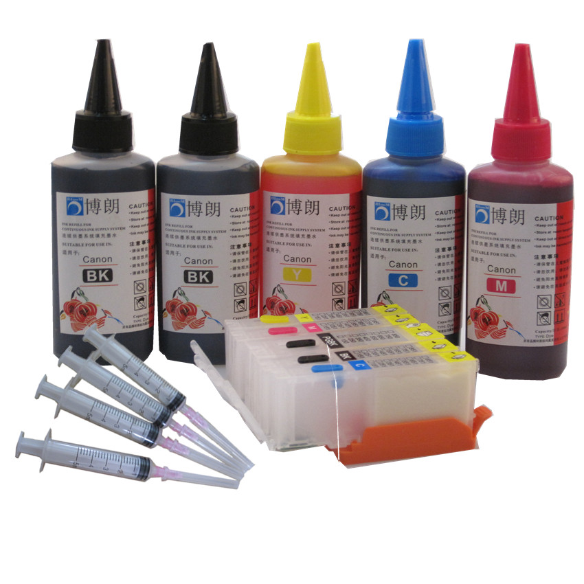 PGI-470 470 refillable ink cartridge For CANON PIXMA MG6840 MG5740 TS5040 TS6040  printer + 5 Color Dye Ink 500ml