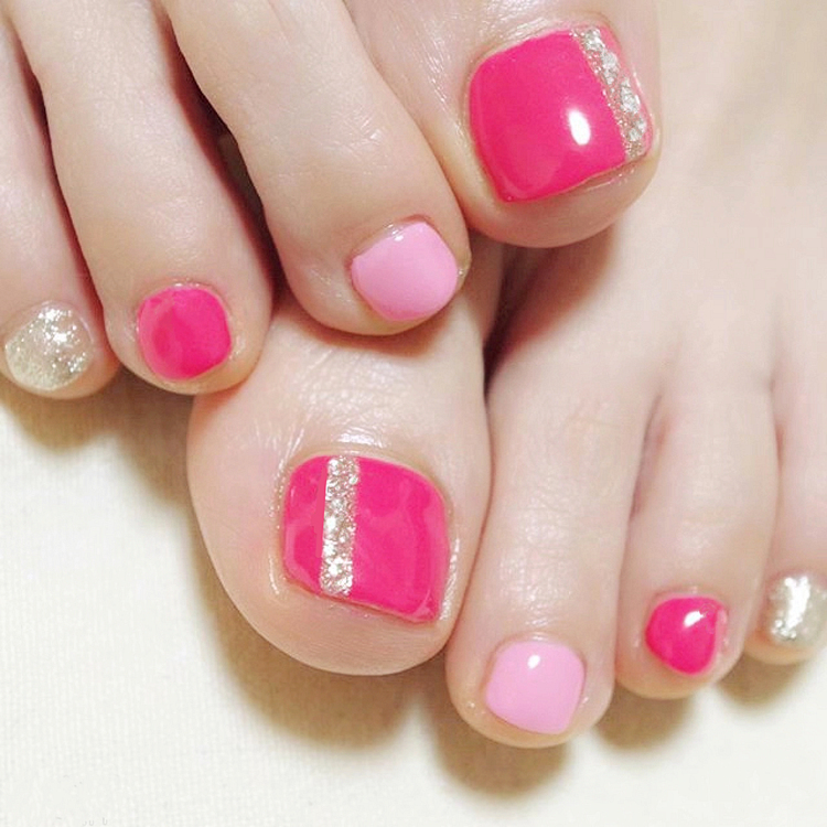 New 24 pcs Pink Lady Shimmer Cute High Quality Full Cover French 3D ToeNails For Foot Nail Kawaii Foot False Nail [T144]