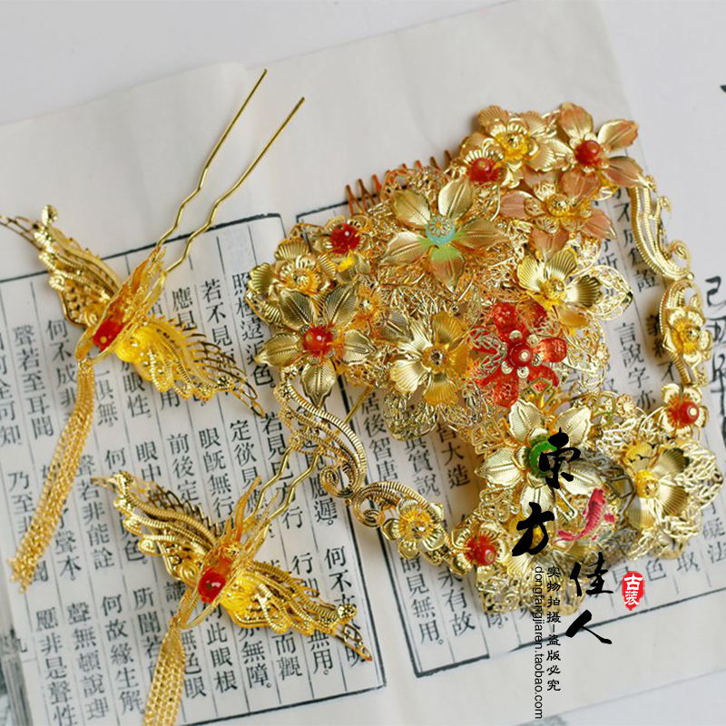 Gold Red Beads Xiuhefu Wedding Costume Hanfu Hair Jewelry Hair Tiaras 03 red gold bride wedding hair tiaras ancient chinese empress hat bride hair piece