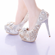 Pearl flower rhinestone ultra High Heels female thin heels bridal Shoes Wedding Shoes banquet single Shoes Free Shipping