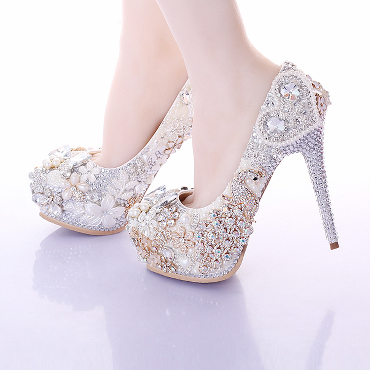 Pearl flower rhinestone ultra high heels female thin heels bridal shoes wedding shoes banquet single shoes