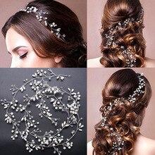 Cinturón de pelo de perlas de cristal, adornos para el cabello de boda, adornos para joyas de cabello para novias, accesorios para el cabello de boda