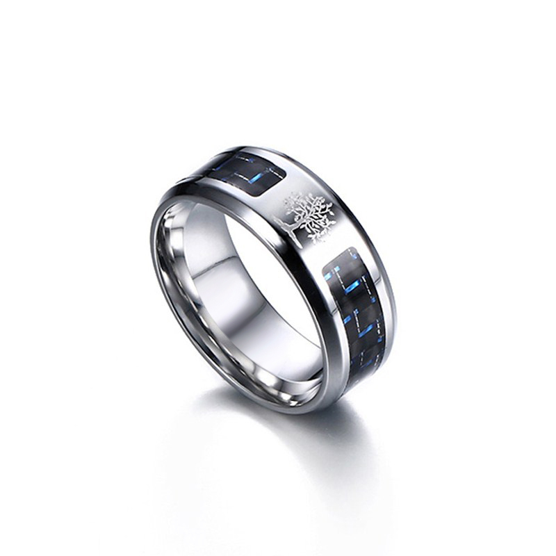 Vnox 8mm Carbon Fiber Ring For Man Engraved Tree Of Life Stainless Steel Male Alliance Casual Jewelry US Size 7# -12#