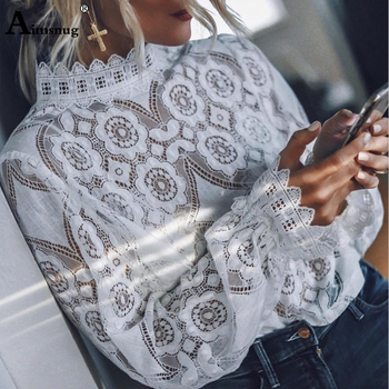 Aimsnug Elegant White Lace Shirt Sexy Hollow Out Embroidery Feminine Blouse Women Blouse Long Lantern Sleeve Summer Female Tops lace hollow bowknot blouse