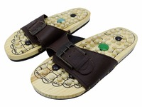 Foot Massage Slippers Shoe Sandal Reflex Massages Rotating Acupuncture Wooden Base Foot Health Care Natural Stone