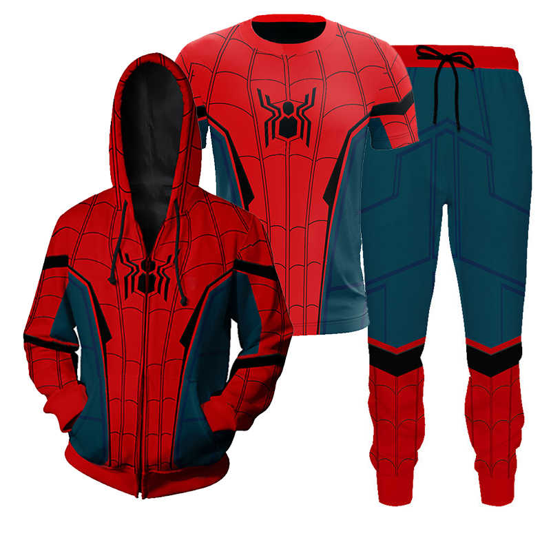 Spiderman Far From Home Coming Spider-man Cosplay Costume 3D T-shirt Hoodies Pants Men Boys Halloween Costumes