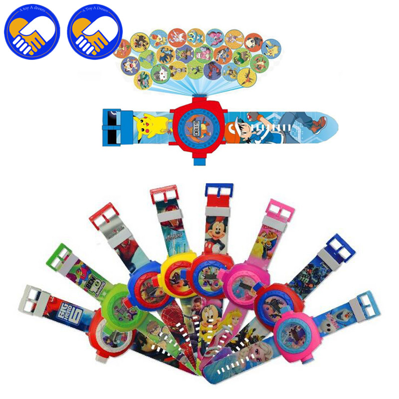 A TOY A DREAM 24 images Spiderma Projection cartoon Electronic watch Children LED Digital Projection Wristwatches For kids gifts