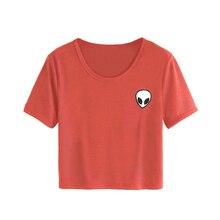 070c1c92d6e Women Young Girl Summer Short Sleeve T-Shirts Casual Crop Top Alien  Printing Tee Shirt