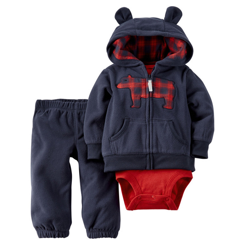 Free shipping baby bebes boys clothes set jacket + romper + pants boy girl clothing infant Autumn Spring children suits 2019 New