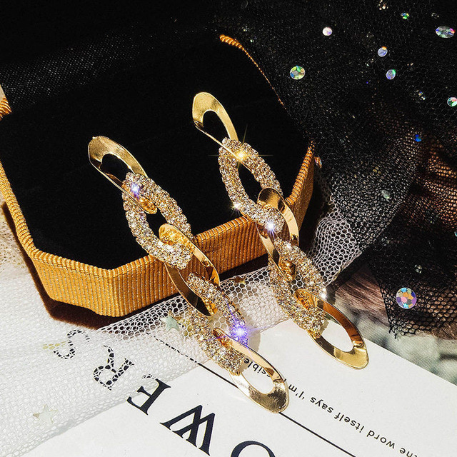 Любовь золото цвет спираль Металл петельная цепь висячие серьги со стразами украшения роскошные длинные серьги для женщин ювелирные изделия 2019