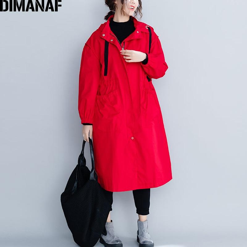DIMANAF Women Long Coat Winter Oversized Jacket Thick Clothing Big Size Female Loose Zipper Cardigan Outerwear
